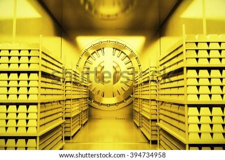 Golden bank vault with gold bars. 3D Render - stock photo