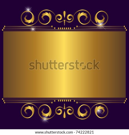 Golden banner with floral design. Similar image in vector format  in my portfolio. - stock photo
