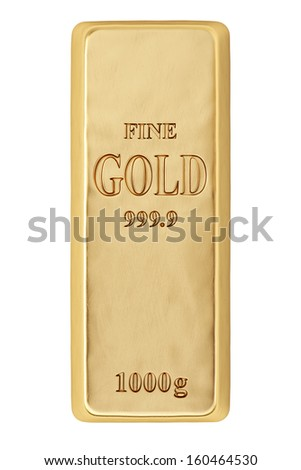 golden bar. Isolated on white. - stock photo