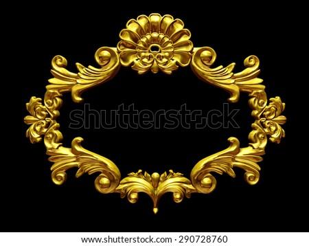 golden baroque Frame - stock photo
