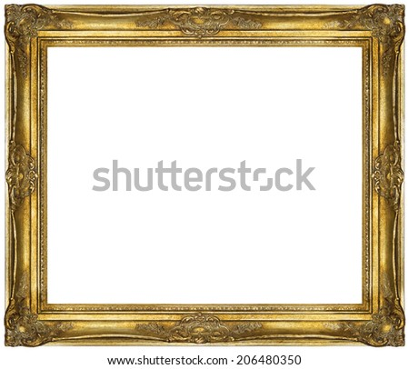 Golden Baroque Frame Isolated On White Stock Photo (Royalty Free ...