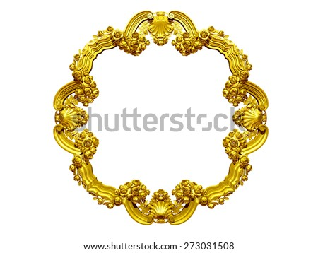 golden, baroque, ornamental frame with roses - stock photo