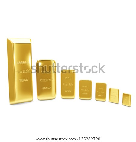 Golden bars on white background - stock photo