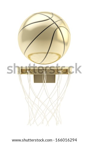 Golden basketball ball over hoop isolated on white background - stock photo