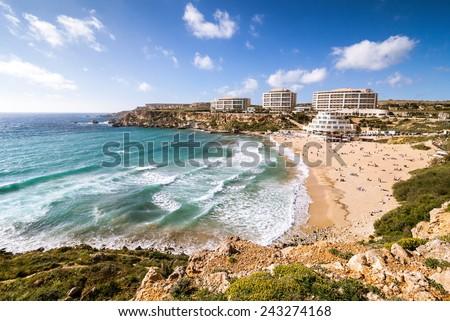 Golden bay Malta - stock photo