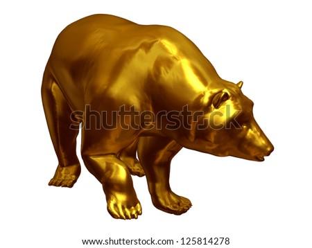 Golden Bear, symbol of slump - stock photo