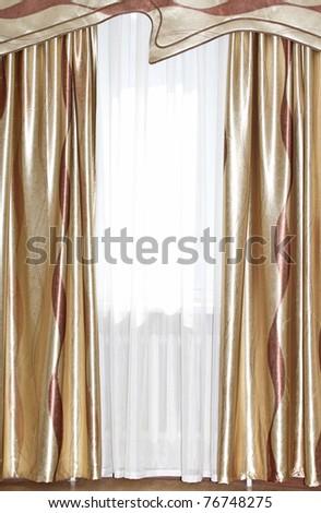 Golden beautiful curtains. Beautiful background. - stock photo
