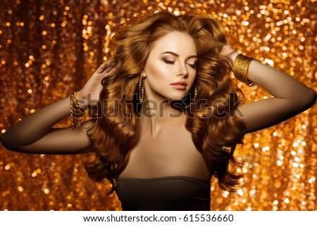 Golden Beautiful Fashion Woman Model Shiny Stock Photo - Haircut girl model