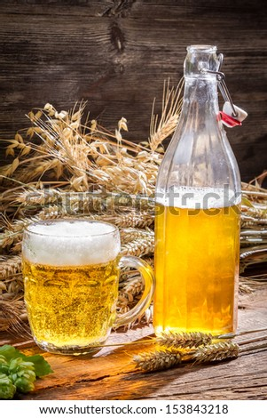 Golden beer made �¢??�¢??of wheat and hops - stock photo