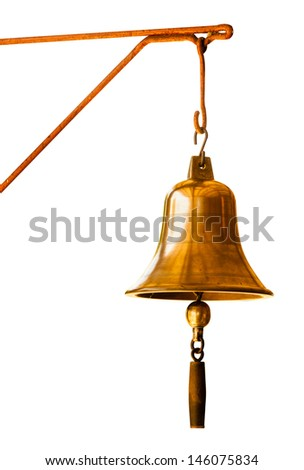 Golden Bell  at Train station in the north of Thailand isolated on white