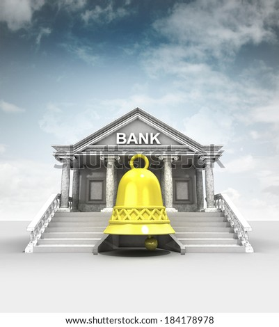 golden bell in front of bank in classic style with sky illustration - stock photo