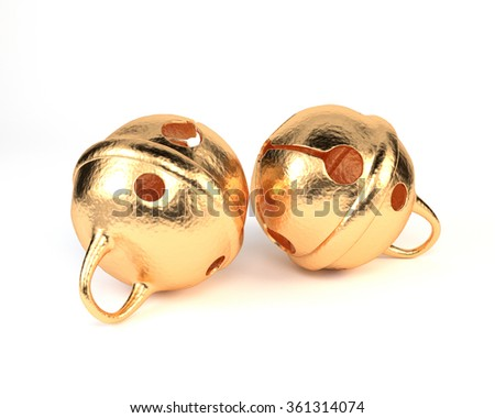 Golden bells, isolated on a white background. Christmas bells. 3d illustration. - stock photo