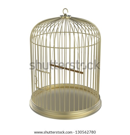 Golden bird cage isolated on white background - stock photo