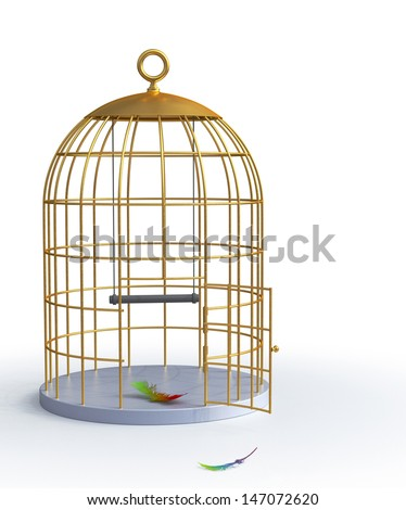 Golden Birdcage isolated. Freedom concept - stock photo