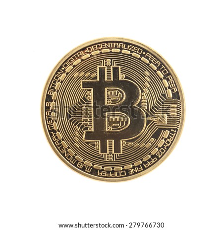 Golden Bitcoin coin isolated on white - stock photo