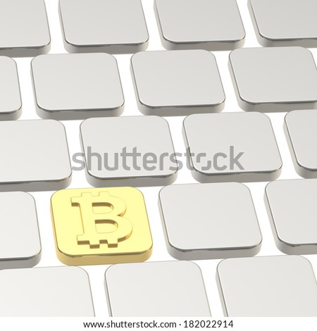 Golden bitcoin currency keyboard button among usual ones - stock photo