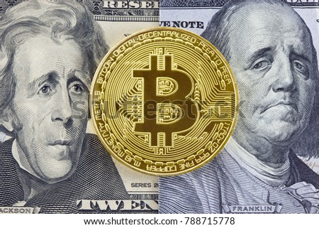 Golden bitcoin on dollar bills background with puzzled faces of American presidents.