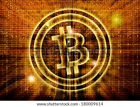 golden bitcoin symbol digital abstract background - stock photo