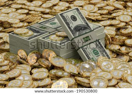 Golden Bitcoins and Dollar bills - stock photo