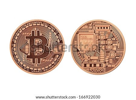 Golden Bitcoins  (front and back view) isolated on white background  - stock photo