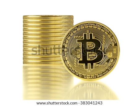 Golden Bitcoins isolated on white background.