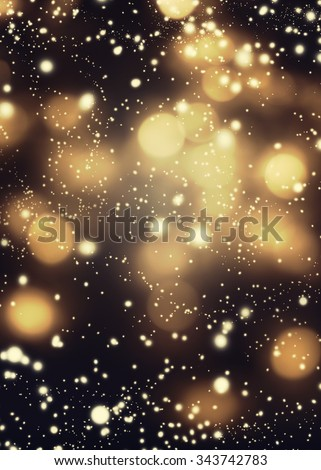 Golden Black Christmas Abstract Defocused Background With festive boke. Blurred Bokeh