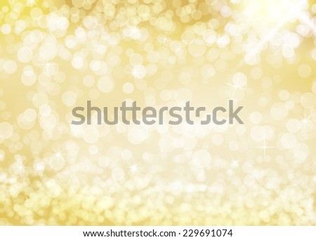 Golden bokeh background with glittering stars. With lots of copy space. - stock photo
