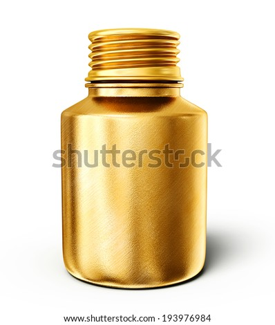 golden bottle isolated on a white background