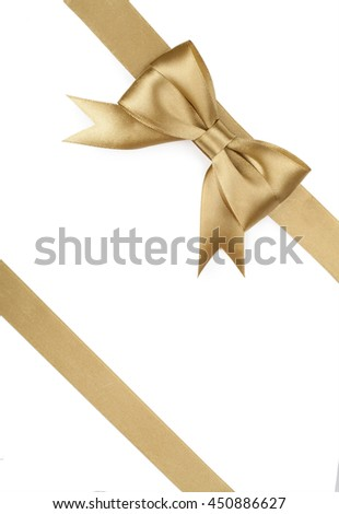 Golden bow and Ribbon isolated on white background.