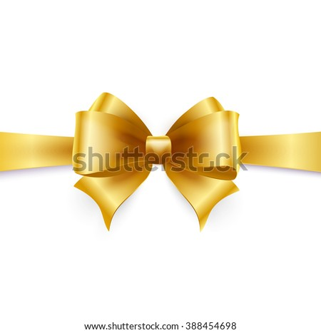 Golden bow isolated on white.