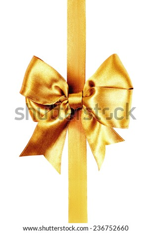 golden bow photo made from silk isolated - stock photo