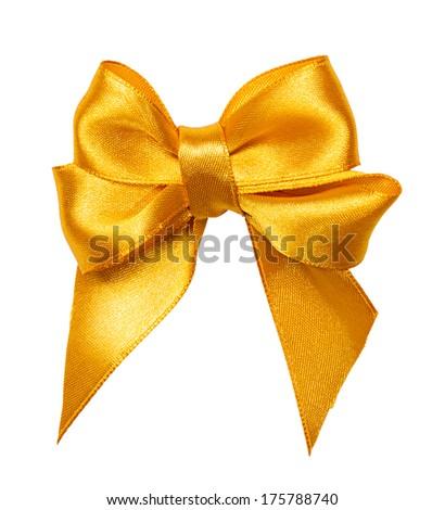 golden bow, ribbon isolated on white - stock photo