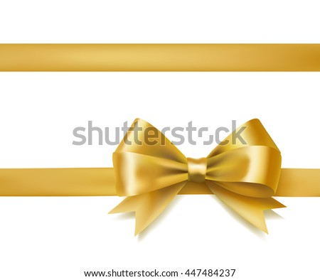 golden bow ribbon on white. decorative design element. raster