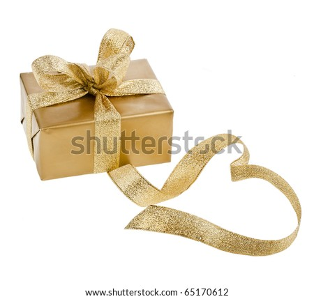 golden box with ribbon bow in the form of heart isolated - stock photo