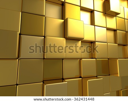 Golden Boxes Abstract Surface Background. 3d Render Illustration