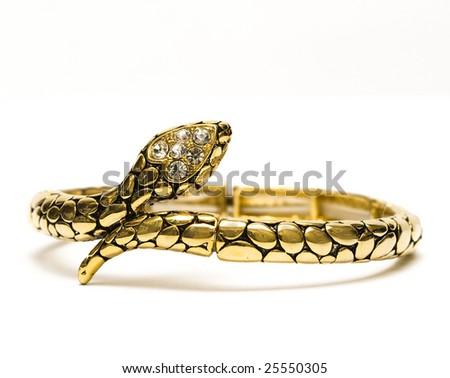 golden bracelet isolated on white background - stock photo