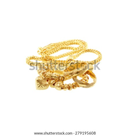 Golden bracelet with heart shape the image isolated on whit - stock photo