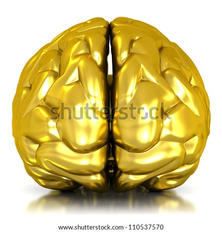 golden brain isolated on white background - 3d render - stock photo