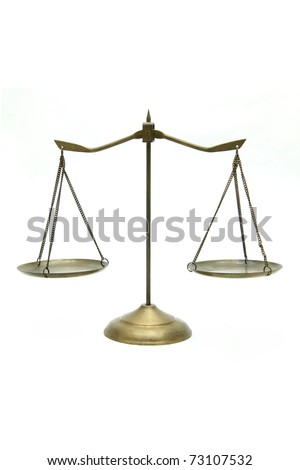 golden brass scales of justice on white - stock photo