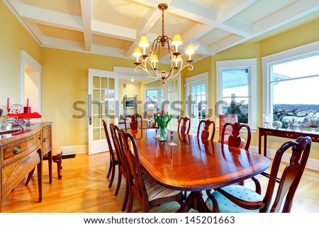 Golden Bright Yellow Luxury Dining Room With Elegant Classic Furniture And  White Wood Ceiling. Part 26