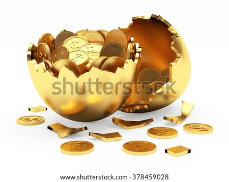 Golden broken egg full of coins isolated on a white background  - stock photo