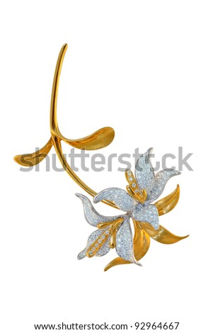 golden brooch with diamonds - stock photo