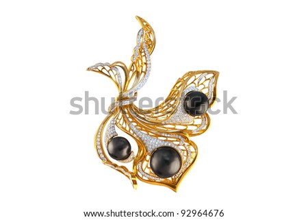 golden brooch with pearls and diamonds - stock photo