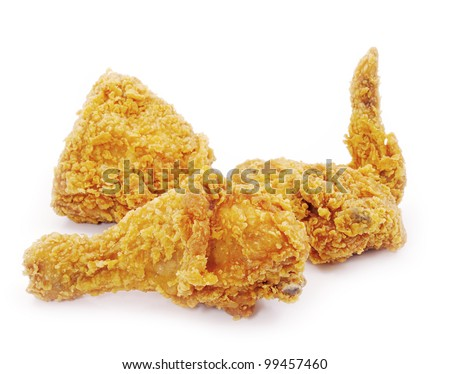 Golden brown fried chicken - stock photo
