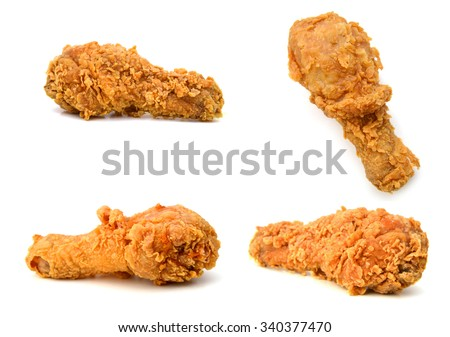 Golden brown fried chicken drumsticks - stock photo