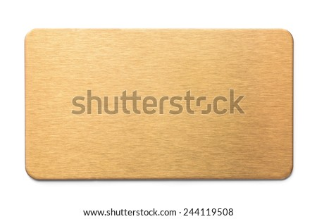 Golden brushed metal plate isolated on white - stock photo