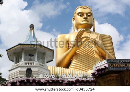 Golden Buddha and temple in Dambulla, Sri Lanka