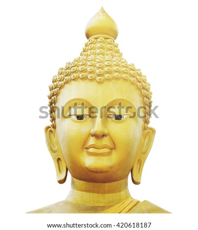 Golden Buddha Face / Golden Buddha Face Isolated on White Background