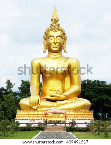 Golden Buddha images on sky clouds background Golden Buddha statue