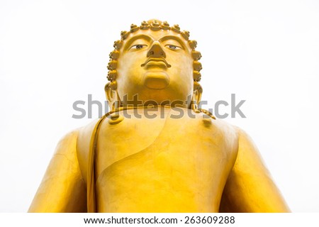 Golden Buddha isolated on white - stock photo